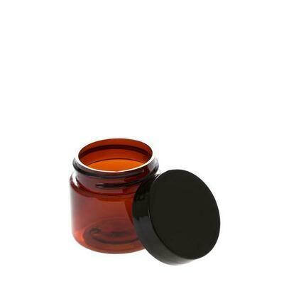 LUVU Beauty | DIY | Packaging | 1oz Amber Plastic Jar w/Black Lid