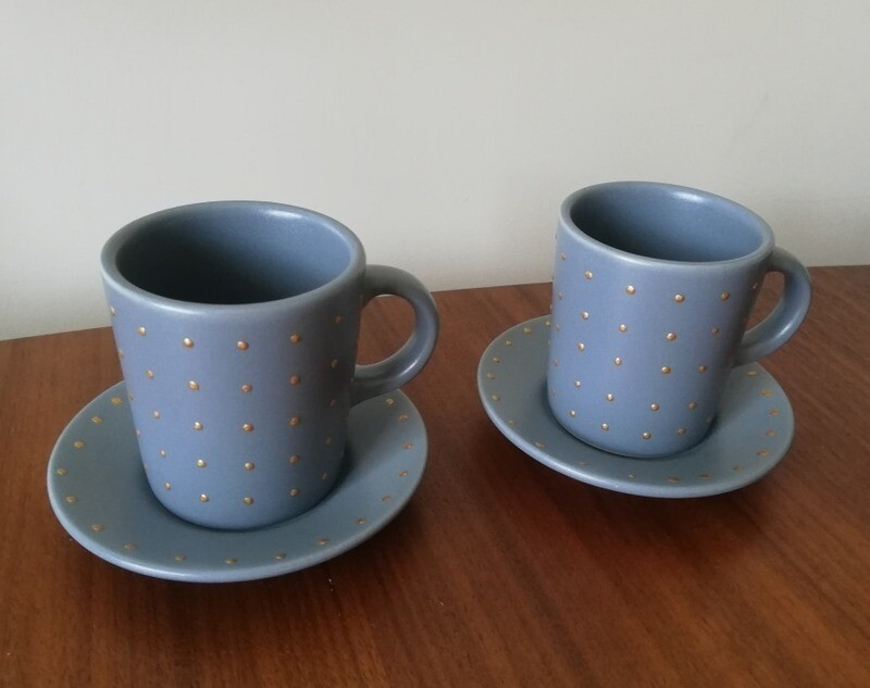 2 x Blue Espresso cups and saucers