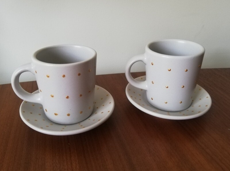 2 x Stone Espresso cups & saucers