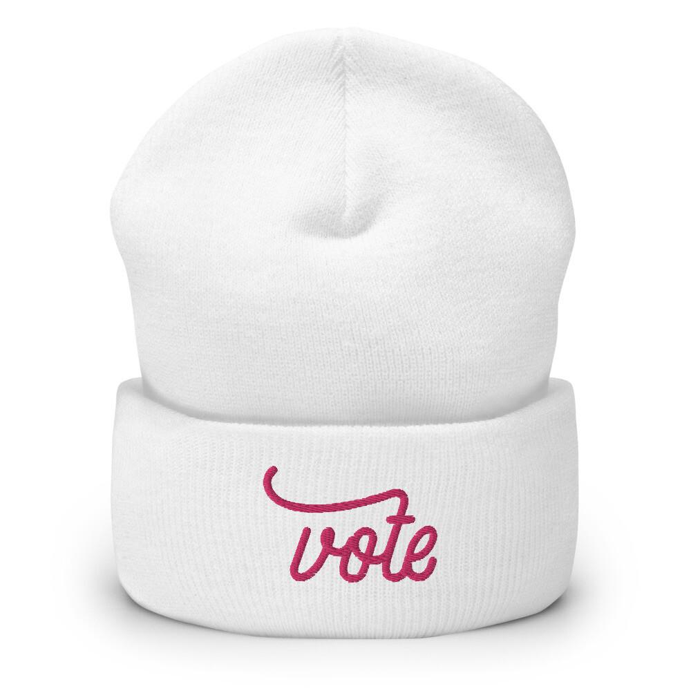 Vote Cuffed Beanie (Pink)