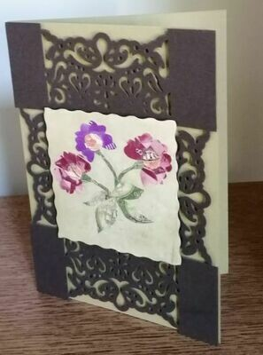 Greeting Card 3 Flowers Red Purple