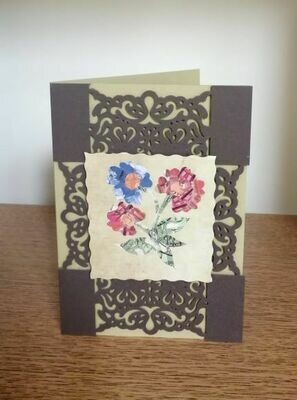 Greeting Card 3 Flowers Dark Red Blue