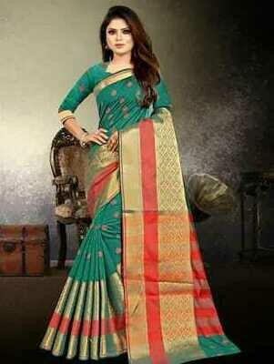 TURQUOISE COTTON SILK BANARASI SAREE
