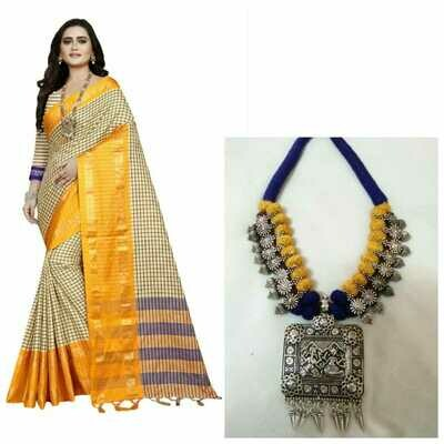 CHECK PRINTED SAREE WITH BLOUSE