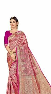 SELF DESIGN BANARASI SAREE WITH BLOUSE
