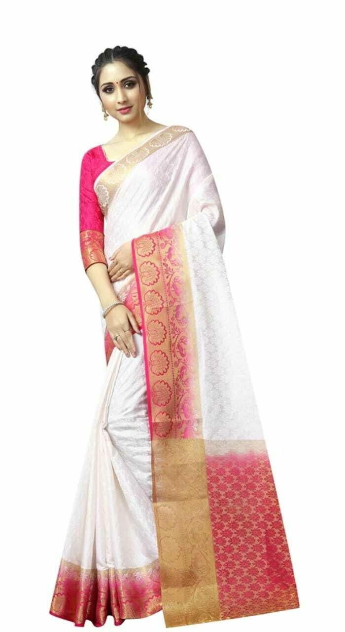 CONTRAST ZARI BORDER WHITE WOVEN SAREE