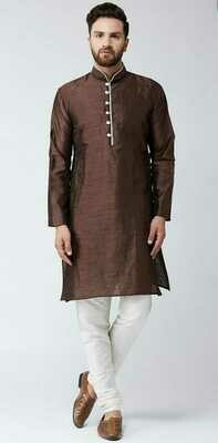 Men Solid Cotton Blend Straight Kurta with Pant