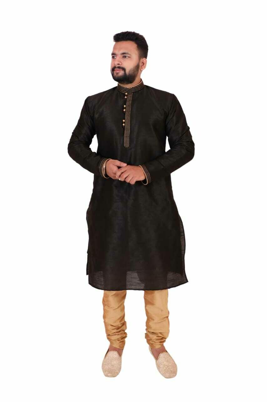 Men Self Design Solid Dupion Silk Straight Kurta with Pant