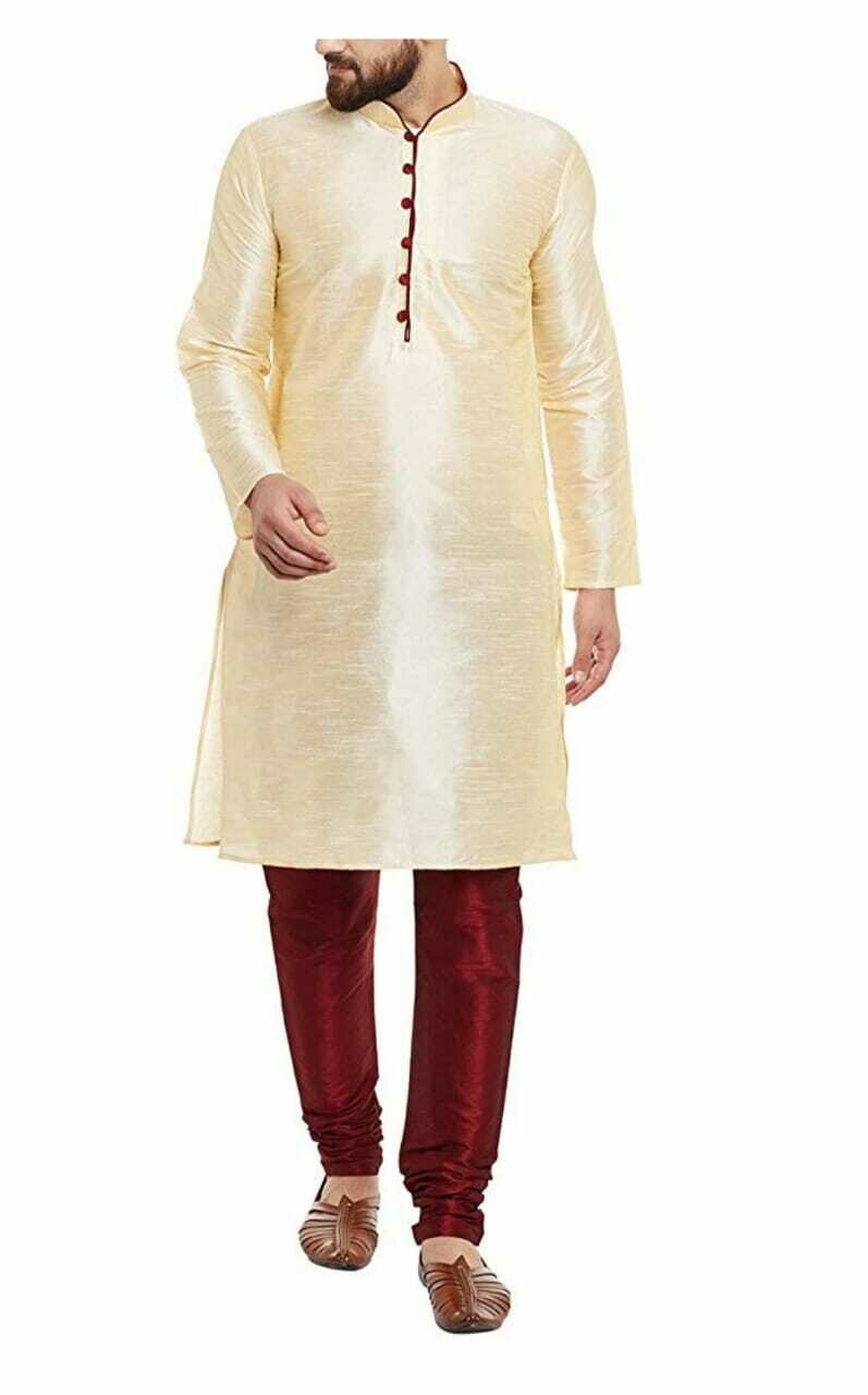 Men Self Design Dupion Silk Straight Kurta with Pant