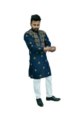 Men Self Design Poly Silk Straight Kurta