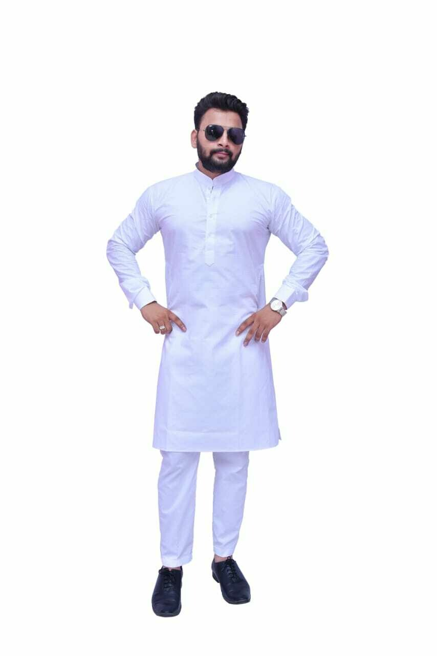 Men  Cotton Blend Straight Kurta