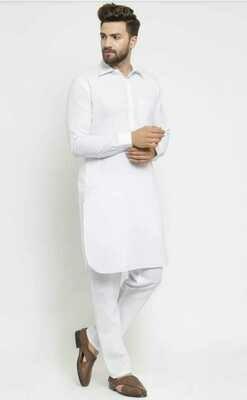 Men Self Design Dopian Silk Straight Collar Kurta with Pant