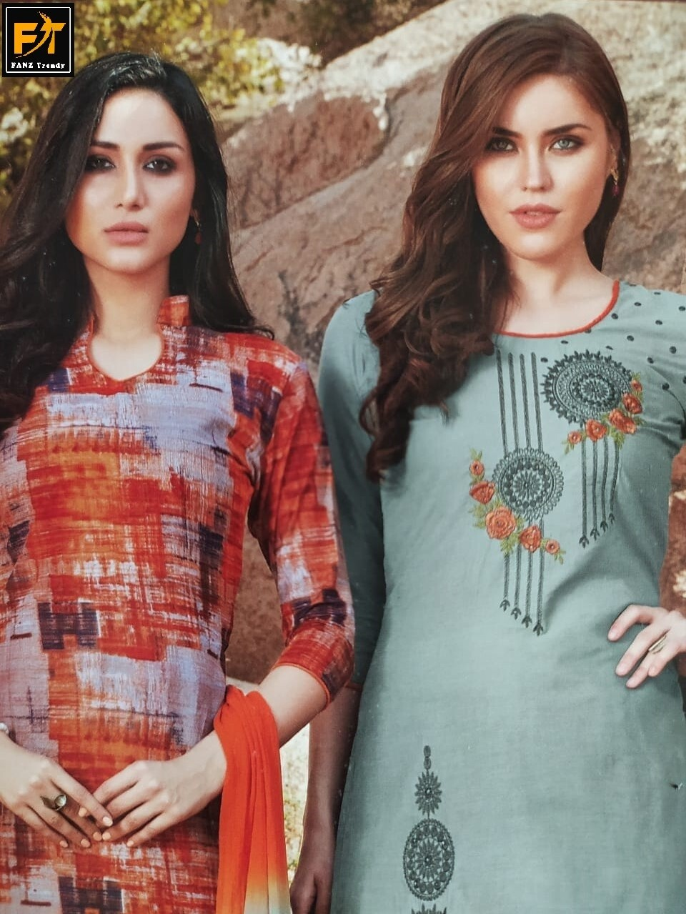 Crepe Printed Salwar Suit Material  (Unstitched)
