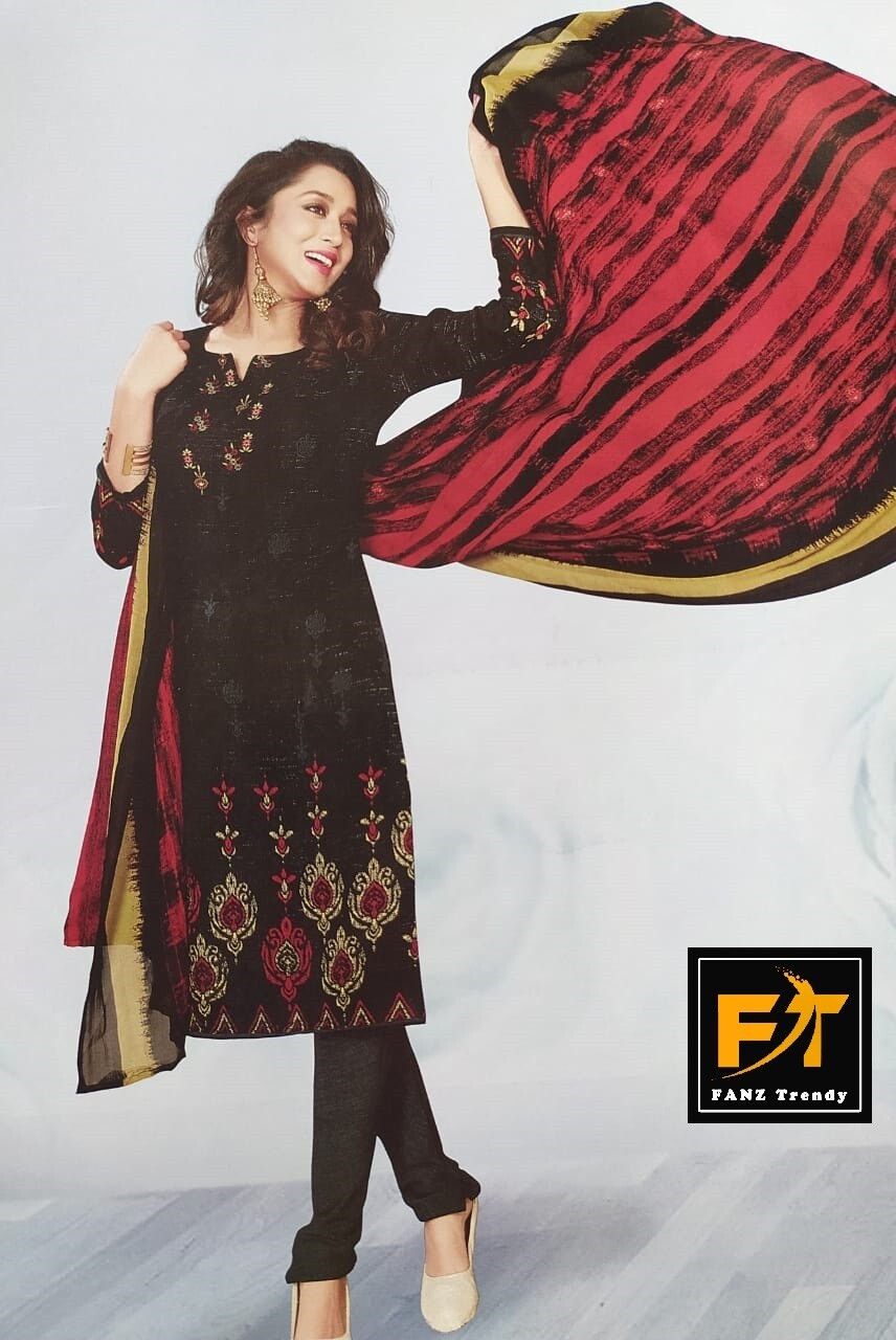 Poly Crepe Printed, Floral Print Salwar Suit Material (Unstitched)