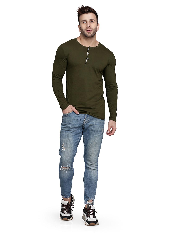 Solid Men Henley Neck Multicolor T-Shirt