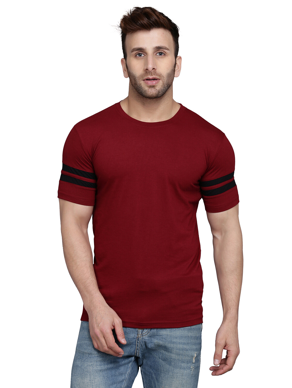 Striped Men Round Neck Multicolor T-Shirt