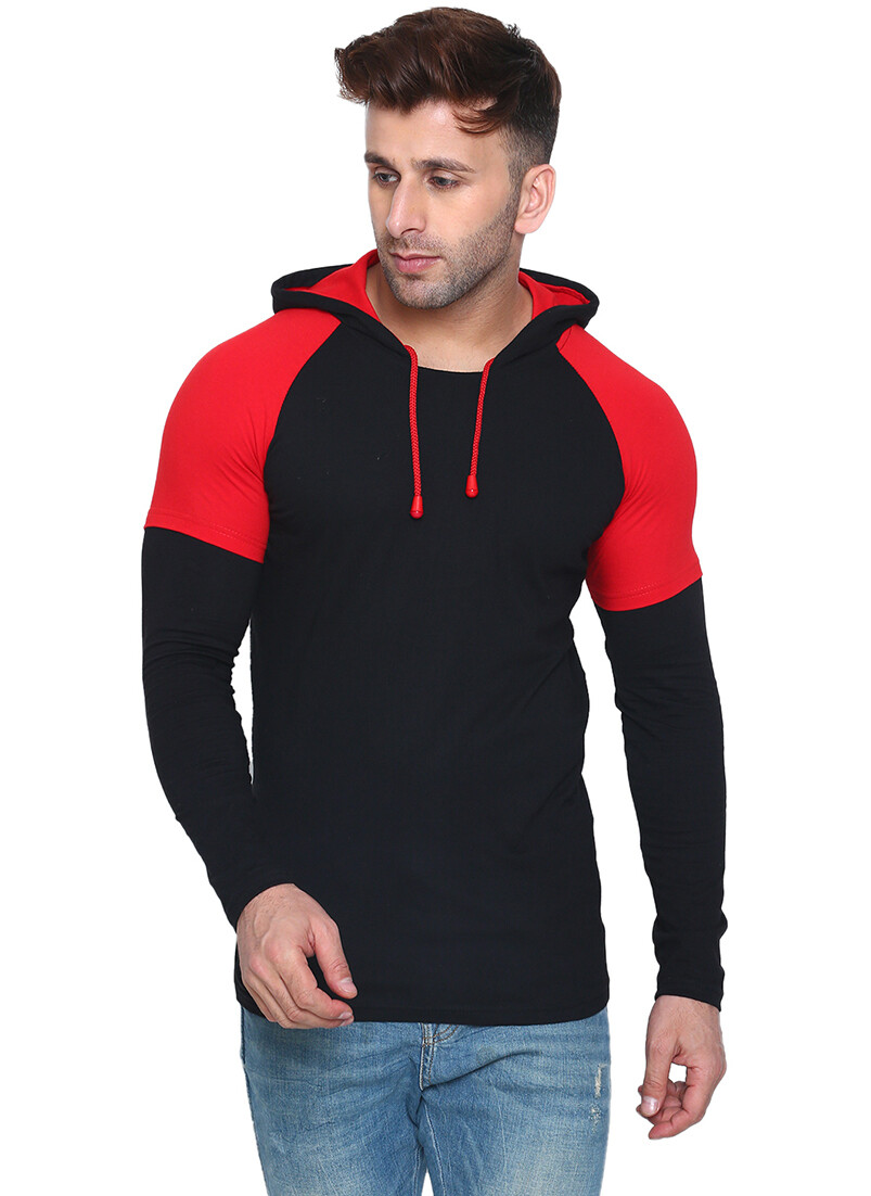 Printed Men Hooded Neck Red, Black T-Shirt