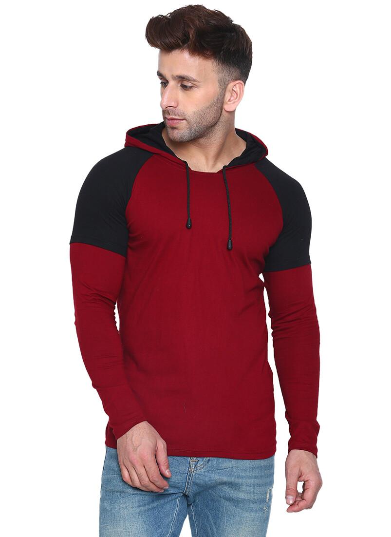Printed Men Hooded Maroon, Black T-Shirt