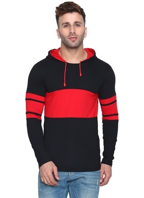 Printed Men Hooded Bordered Red with Black T-Shirt