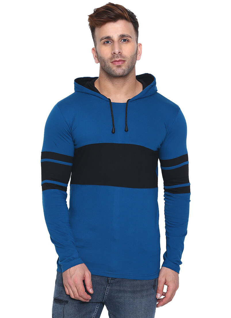 Printed Men Hooded Bordered Blue with Black T-Shirt