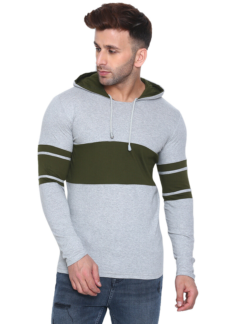 Printed Men Hooded Bordered Dark Green with Grey T-Shirt