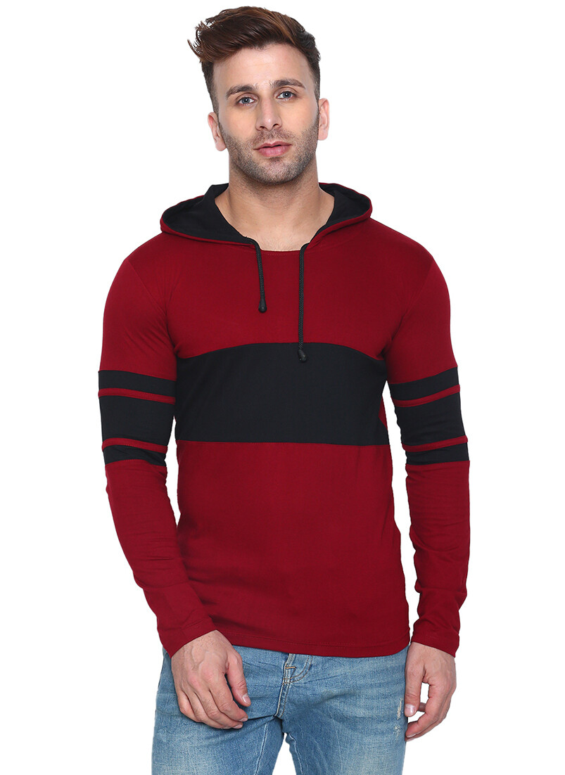 Printed Men Hooded Bordered Black with Red T-Shirt
