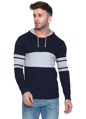 Printed Men Hooded Bordered Sky with Navy Blue T-Shirt