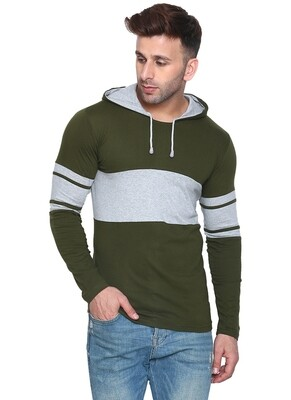 Printed Men Hooded Bordered Olive with Grey T-Shirt
