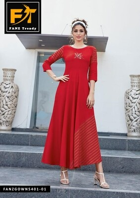 Self Design, Rayon Fabric with Embroidery, Stitched Anarkali Gown (Red)