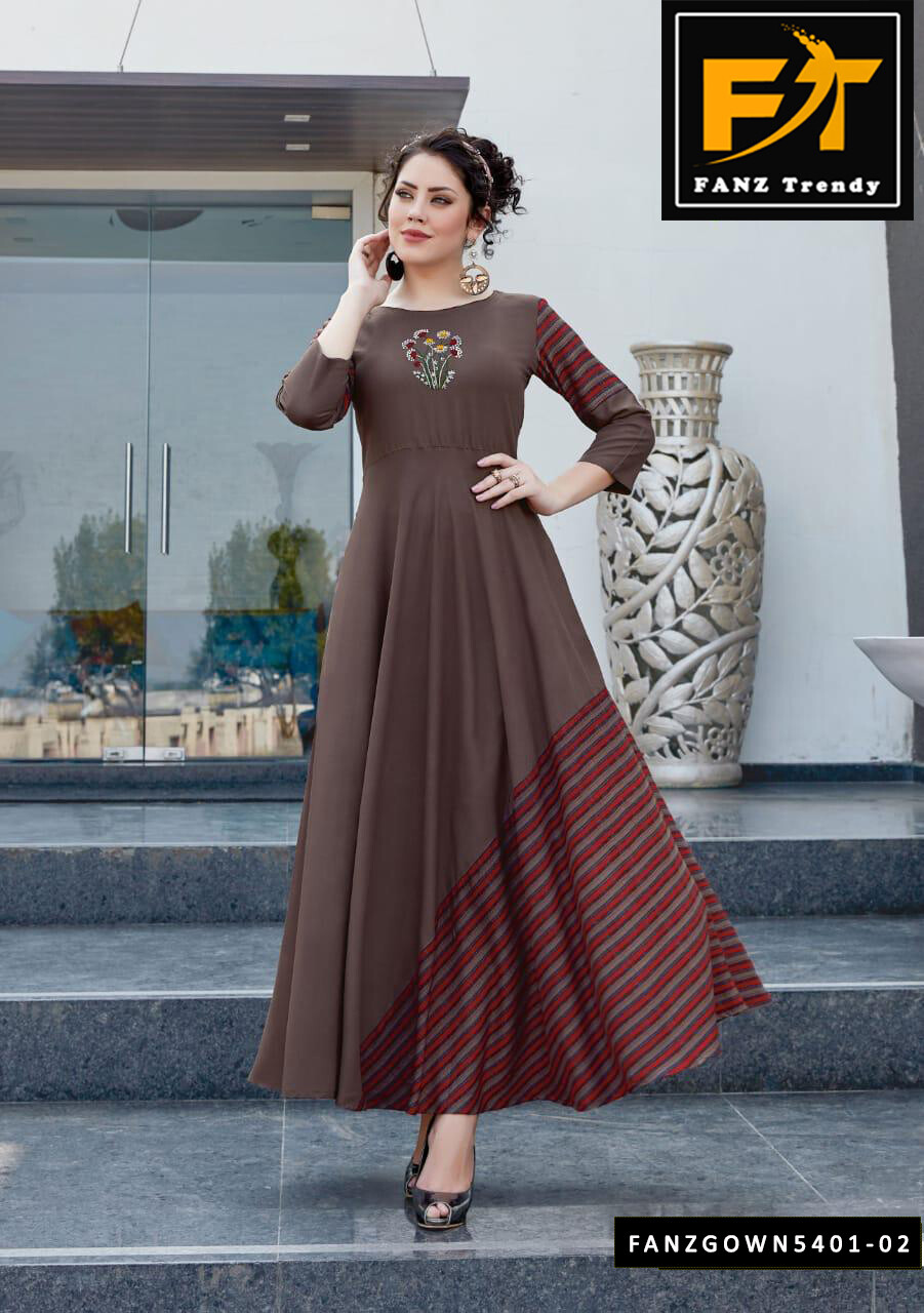 Self Design, Rayon Fabric with Embroidery, Stitched Anarkali Gown  (Brown)