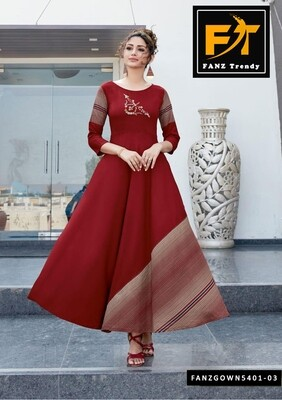 Self Design, Rayon Fabric with Embroidery, Stitched Anarkali Gown(Chocolate)