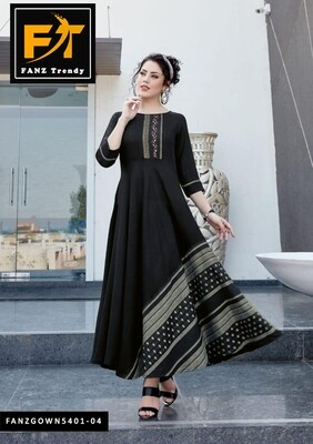 Self Design, Rayon Fabric with Embroidery, Stitched Anarkali Gown  (Black)