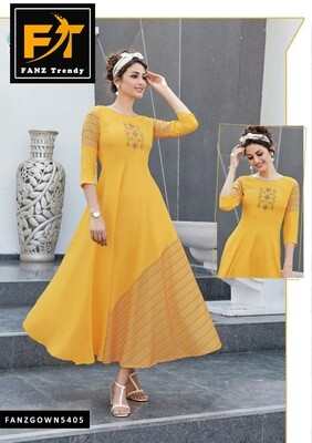 Self Design, Rayon Fabric with Embroidery, Stitched Anarkali Gown (Yellow)