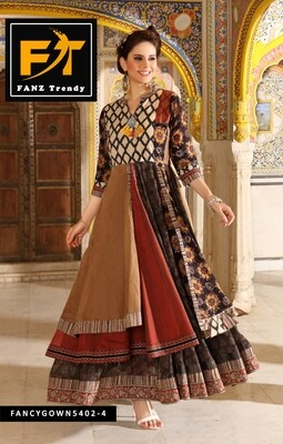 Solid Rayon Blend Stitched Anarkali Gown (Multicolour)