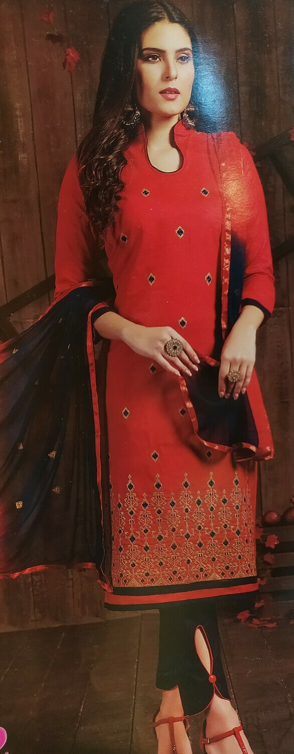 FANZ Trendy Embroidered Salwar Suit Material  (Unstitched)