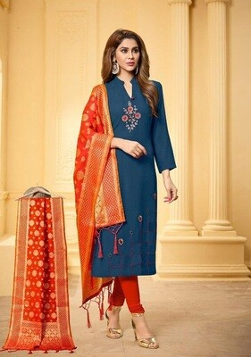 FANZ Trendy Cotton Embroidered Kanchipuram Style Salwar Suit Material (Unstitched)