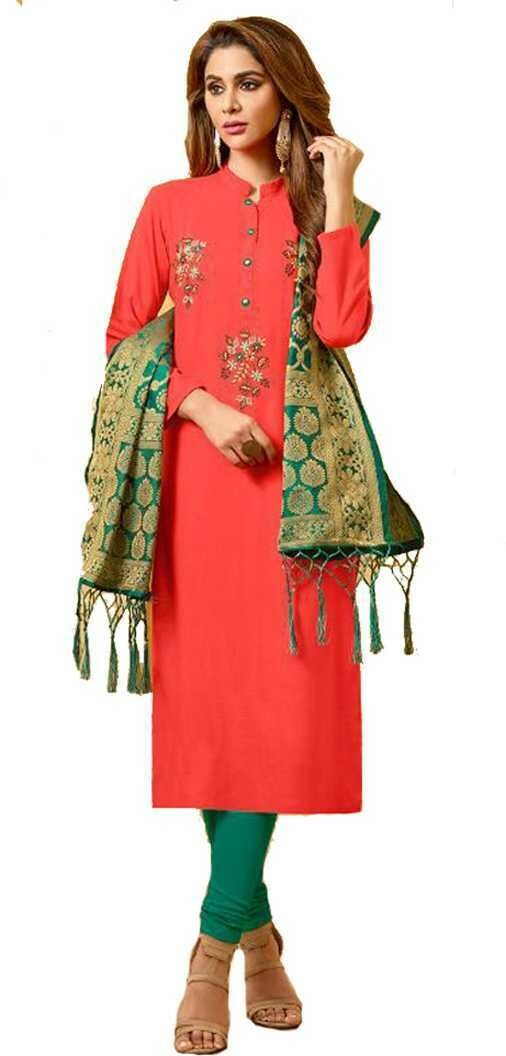​FANZ Trendy Cotton Embroidered Kanchipuram Style Salwar Suit Material (Unstitched)