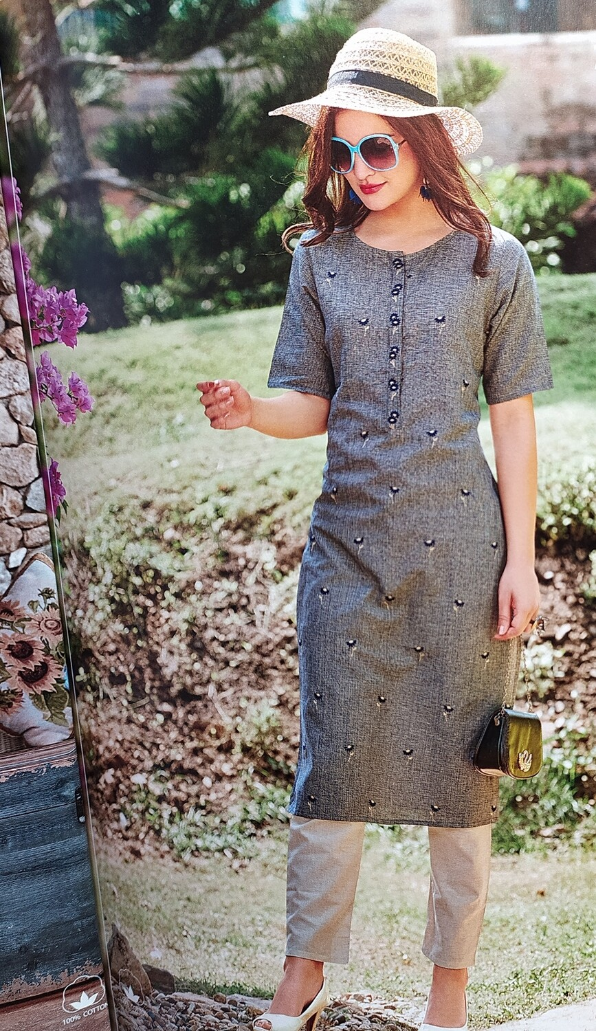 Women Embroidered Cotton Rayon Blend Straight Kurta