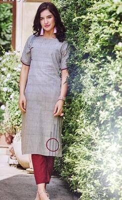 Women Embroidered Cotton Rayon Blend Straight Kurta