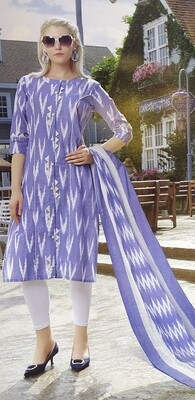 Women Ikat Cotton Blend Straight Kurta