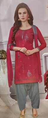 FANZ Trendy Embroidered Cotton Salwar Suit Material  (Unstitched)