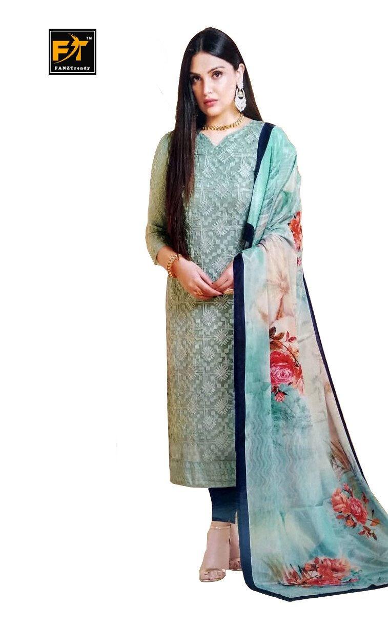 Straight Cut Salwar Suit Material with Dupatta (Unstitched) Gray