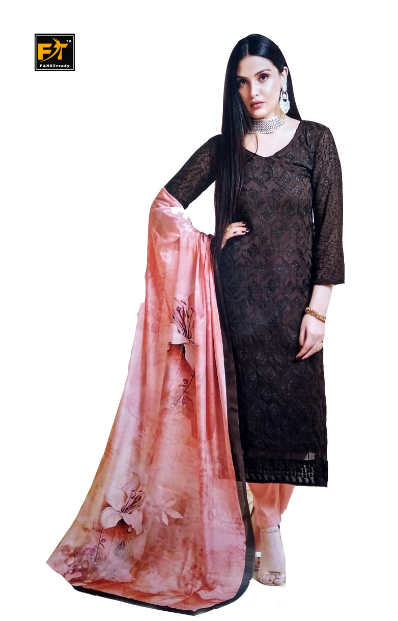 Straight Cut Salwar Suit Material with Dupatta (Unstitched)