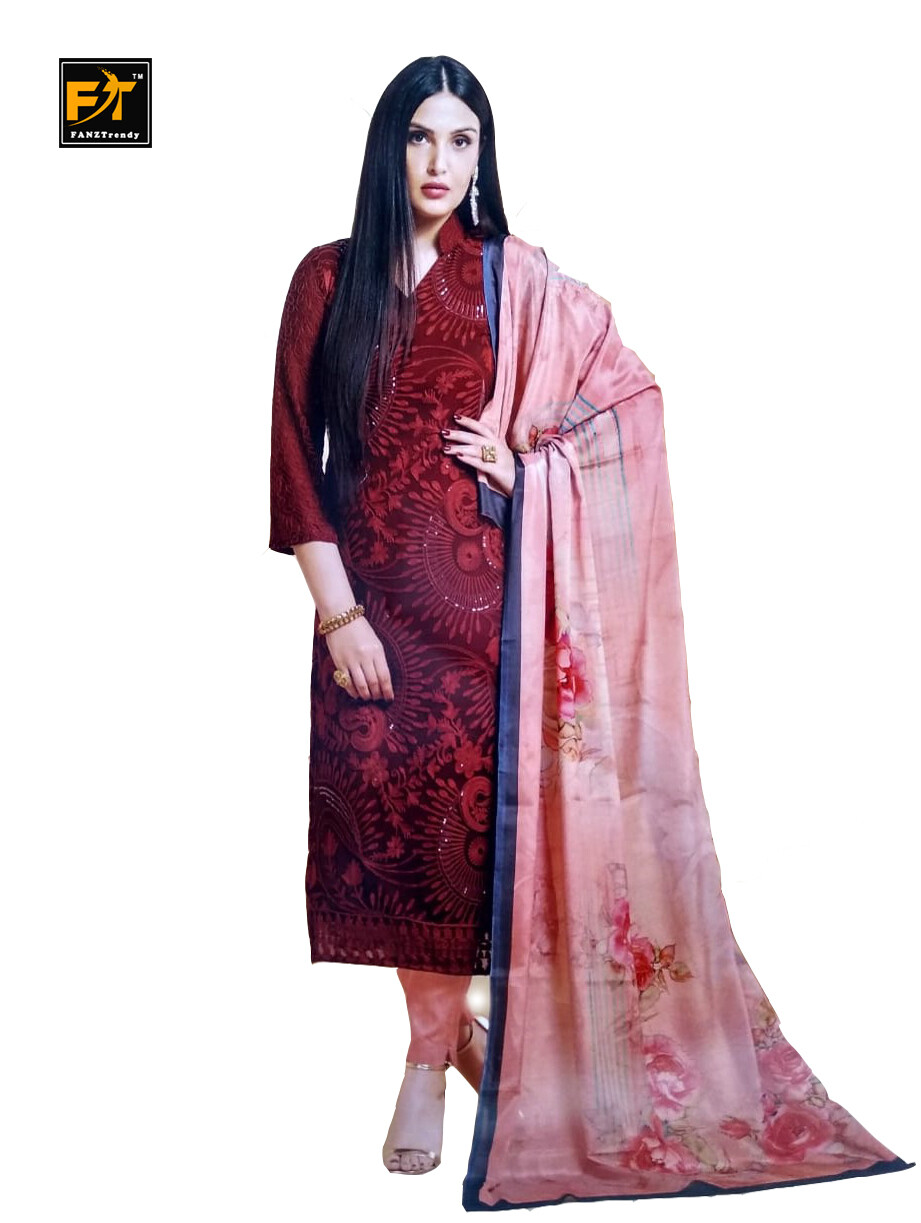Straight Cut Salwar Suit Material with Dupatta (Unstitched) Red