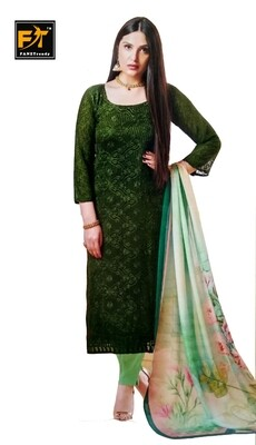 Straight Cut Salwar Suit Material with Dupatta (Unstitched) Green
