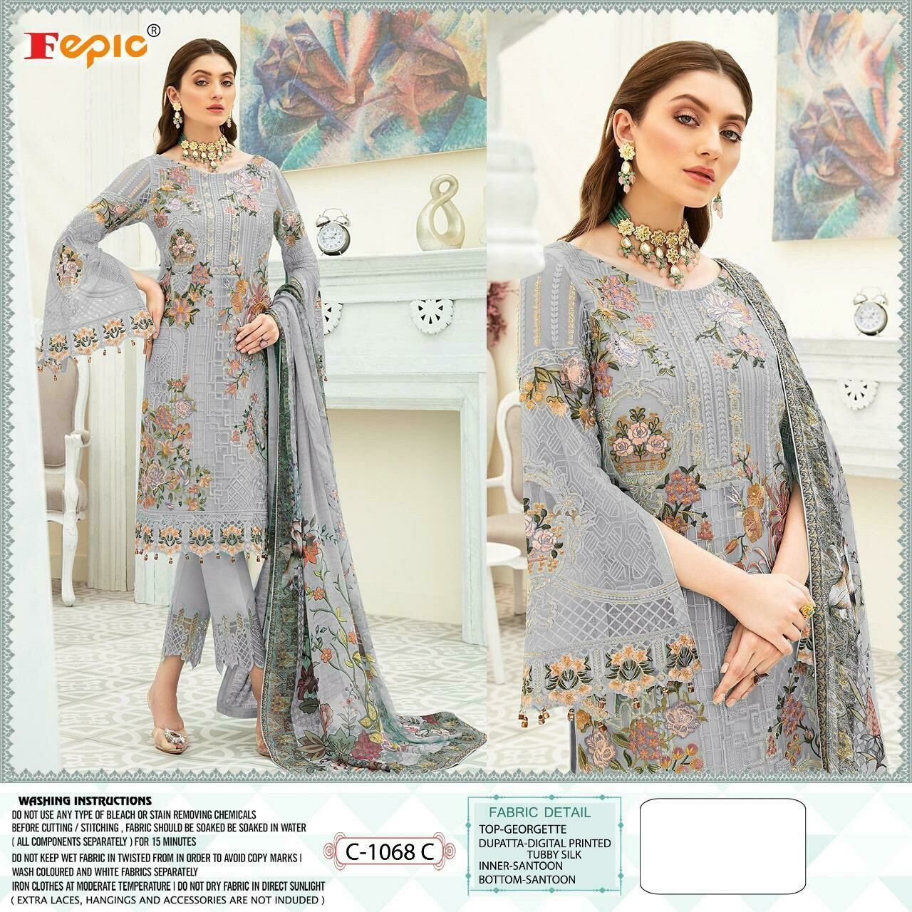 Fepic rosemeen dynamic Georgette Embroidered With Handwork
