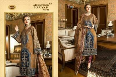 shree fabs brand mbroiedered maria b vol 12
