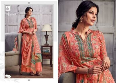 Alok Suit Nagmaa Pure Jam Digital print With Swarovski Diamond Work Dress Material At Wholesale rate