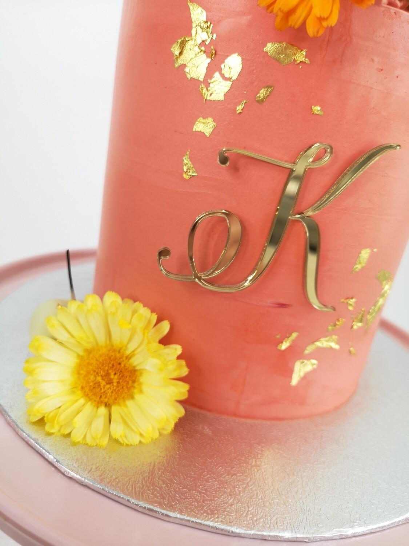 Single Letter Monogram Cake Charm,