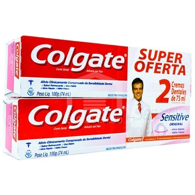 Crema Dental Colgate Sensitive Fresh Strips Sensibilidad 75 Ml 2 Pack